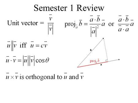 Semester 1 Review Unit vector =. A line that contains the point P(x 0,y 0,z 0 ) and direction vector : parametric symmetric.