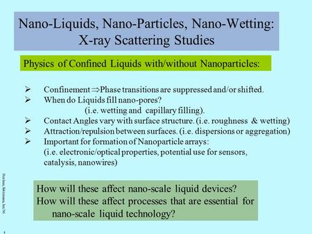 Pershan, Weizmann, Jan. ' 06 1 Nano-Liquids, Nano-Particles, Nano-Wetting: X-ray Scattering Studies Physics of Confined Liquids with/without Nanoparticles: