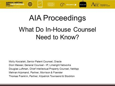 What Do In-House Counsel Need to Know? AIA Proceedings Molly Kocialski, Senior Patent Counsel, Oracle Dion Messer, General Counsel - IP, Limelight Networks.