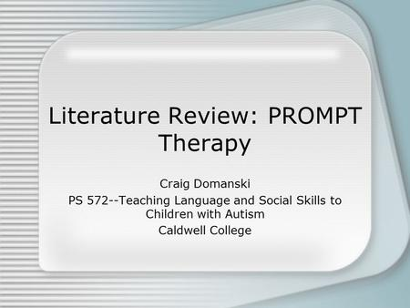 literature review on autism interventions