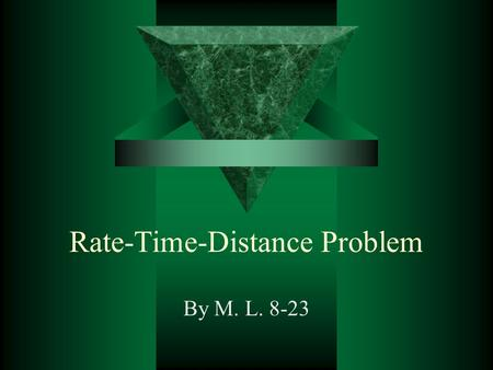 Rate-Time-Distance Problem By M. L. 8-23. 5.  Two jets leave Denver at 9:00 A.M., one flying east at a speed 50 km/h greater than the other, which is.