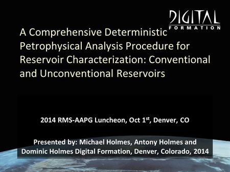 2014 RMS-AAPG Luncheon, Oct 1st, Denver, CO