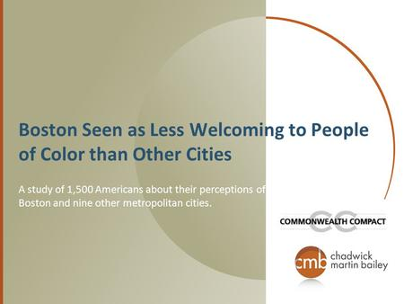 Boston Seen as Less Welcoming to People of Color than Other Cities A study of 1,500 Americans about their perceptions of Boston and nine other metropolitan.