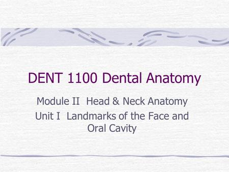 DENT 1100 Dental Anatomy Module II Head & Neck Anatomy Unit I Landmarks of the Face and Oral Cavity.