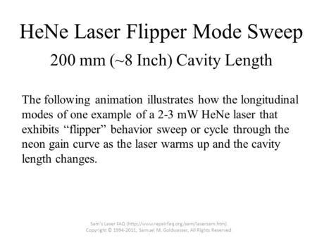 "HeNe Laser Flipper Mode Sweep The following animation illustrates how the longitudinal modes of one example of a 2-3 mW HeNe laser that exhibits ""flipper"""