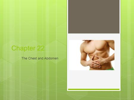Chapter 22 The Chest and Abdomen. © 2010 Delmar, Cengage Learning 2 © 2011 Delmar, Cengage Learning Objectives  Upon completion of this chapter, you.