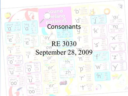 Consonants RE 3030 September 28, 2009. Speech Sound Image courtesy of