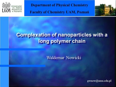 Complexation of nanoparticles with a long polymer chain Department of Physical Chemistry Faculty of Chemistry UAM, Poznań Waldemar Nowicki.