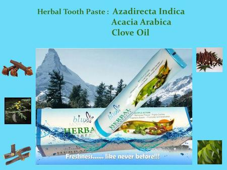 Herbal Tooth Paste : Azadirecta Indica Acacia Arabica Clove Oil.