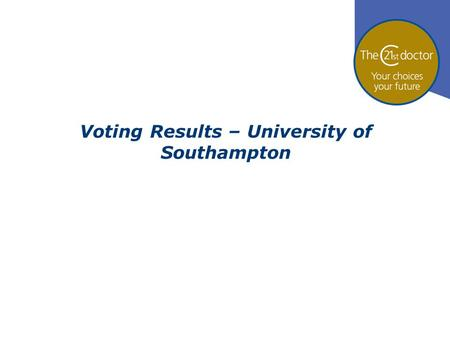 Voting Results – University of Southampton. 71% 18% 11% Who are you? 1.I'm a medical student 2.I'm a doctor 3.I'm neither a doctor nor a medical student.