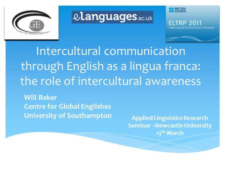 Applied Linguistics Research Seminar –Newcastle University 13th March