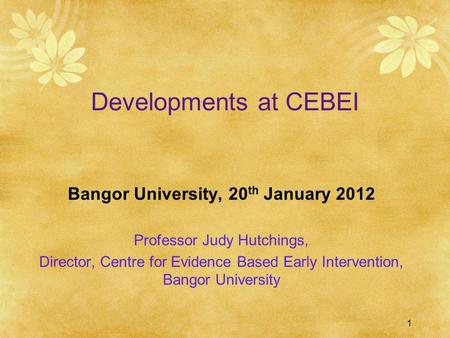 1 Developments at CEBEI Bangor University, 20 th January 2012 Professor Judy Hutchings, Director, Centre for Evidence Based Early Intervention, Bangor.