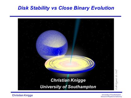 Christian Knigge University of Southampton School of Physics & Astronoy Disk Stability vs Close Binary Evolution Rob Hynes (LSU) Christian Knigge University.
