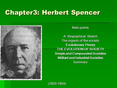 Chapter3: Herbert Spencer