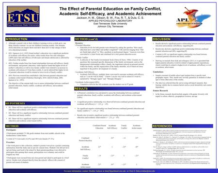 The Effect of Parental Education on Family Conflict, Academic Self-Efficacy, and Academic Achievement Jackson, H. M., Gibson, B. W., Fox, R. T., & Dula,