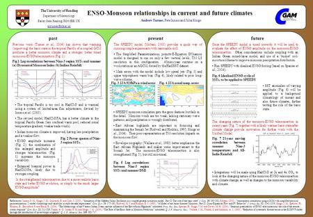 ENSO-Monsoon relationships in current and future climates Andrew Turner, Pete Inness and Julia Slingo The University of Reading Department of Meteorology.