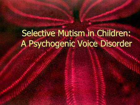 Selective Mutism in Children: A Psychogenic Voice Disorder.