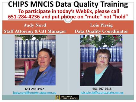 Judy Nord Staff Attorney & CJI Manager Judy Nord Staff Attorney & CJI Manager Lois Pirsig Data Quality Coordinator Lois Pirsig Data Quality Coordinator.