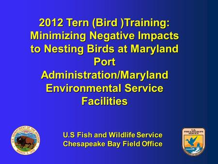 2012 Tern (Bird )Training: Minimizing Negative Impacts to Nesting Birds at Maryland Port Administration/Maryland Environmental Service Facilities U.S Fish.