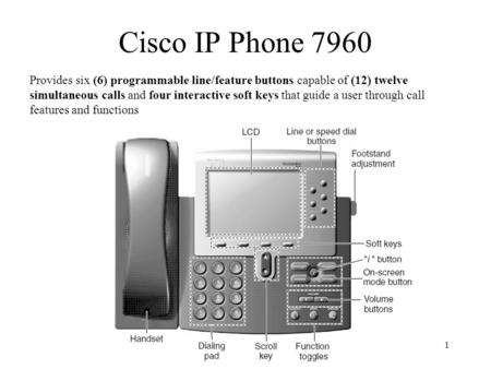 1 Cisco IP Phone 7960 Provides six (6) programmable line/feature buttons capable of (12) twelve simultaneous calls and four interactive soft keys that.