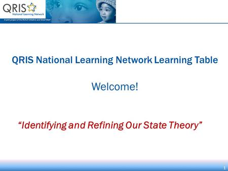 "1 QRIS National Learning Network Learning Table Welcome! 1 ""Identifying and Refining Our State Theory"""
