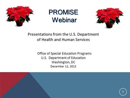 1 PROMISE Webinar PROMISE Webinar Presentations from the U.S. Department of Health and Human Services Office of Special Education Programs U.S. Department.