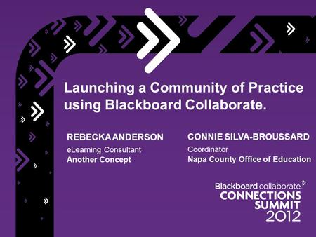 Launching a Community of Practice using Blackboard Collaborate. REBECKA ANDERSON eLearning Consultant Another Concept CONNIE SILVA-BROUSSARD Coordinator.