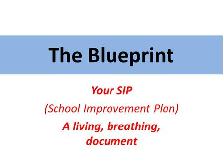 The Blueprint Your SIP (School Improvement Plan) A living, breathing, document.
