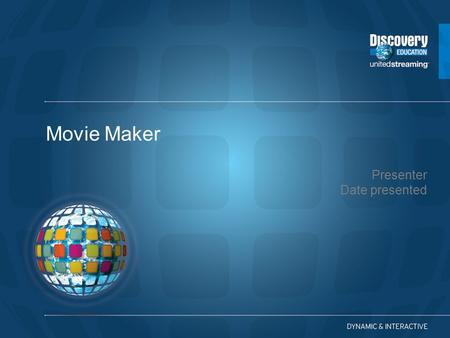 "Presenter Date presented Movie Maker. By clicking on the ""Tasks"" button you will be able to view a variety of options for you to begin your project."
