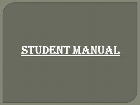 Student Manual. Important Points to be Noted :- 1) It is always suggested to have a test session before start of the training. This will help you in understanding.
