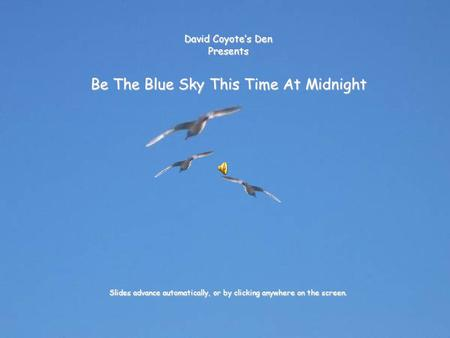 David Coyote's Den Presents Be The Blue Sky This Time At Midnight Slides advance automatically, or by clicking anywhere on the screen.