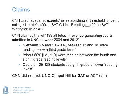 "Claims CNN cited ""academic experts"" as establishing a ""threshold for being college-literate"": 400 on SAT Critical Reading or 400 on SAT Writing or 16 on."