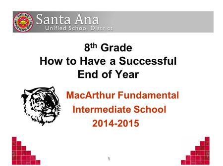 1 8 th Grade How to Have a Successful End of Year MacArthur Fundamental Intermediate School 2014-2015.