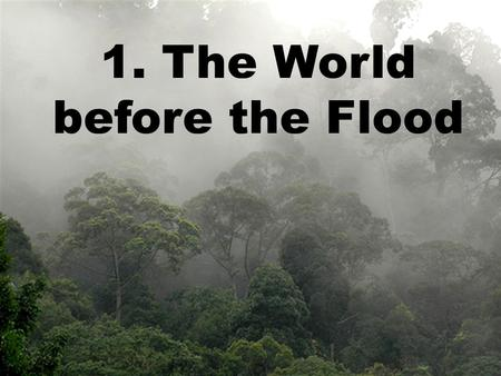 1. The World before the Flood. Before the Flood Waters in One Place
