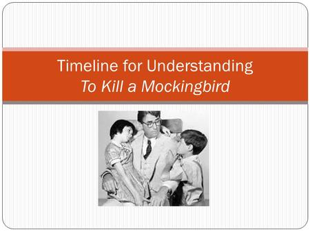Timeline for Understanding To Kill a Mockingbird.
