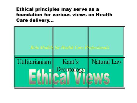 Ethical principles may serve as a foundation for various views on Health Care delivery... Role Models for Health Care Professionals.