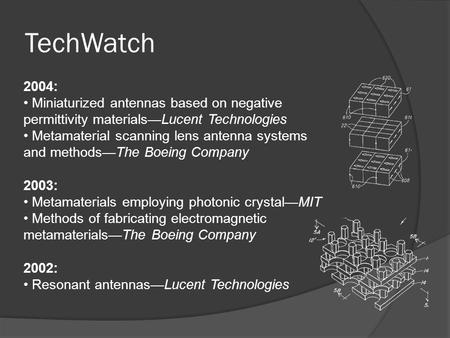 TechWatch 2004: Miniaturized antennas based on negative permittivity materials—Lucent Technologies Metamaterial scanning lens antenna systems and methods—The.