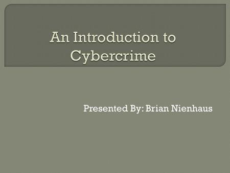 Presented By: Brian Nienhaus.  What is cybercrime?  Running a cybercrime syndicate  Cybercrime attacks  Countermeasures  Organization profiles.
