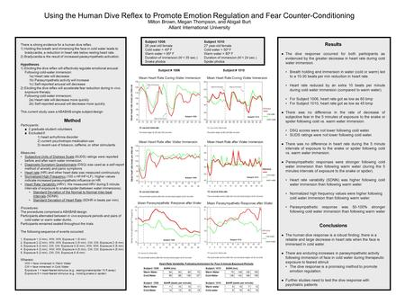 Using the Human Dive Reflex to Promote Emotion Regulation and Fear Counter-Conditioning Milton Brown, Megan Thompson, and Abigail Burt Alliant International.