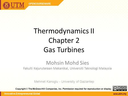 Thermodynamics II Chapter 2 Gas Turbines Mohsin Mohd Sies