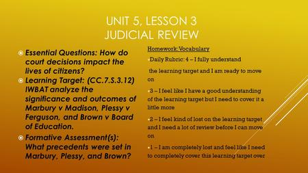 Unit 5, Lesson 3 Judicial Review