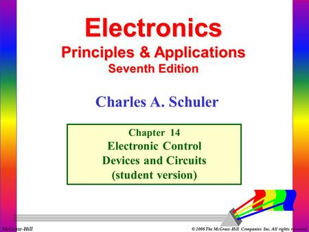 McGraw-Hill © 2008 The McGraw-Hill Companies Inc. All rights reserved. Electronics Principles & Applications Seventh Edition Chapter 14 Electronic Control.