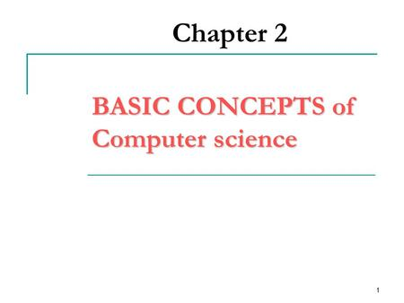 1 Chapter 2 BASIC CONCEPTS of Computer science. 2 1.1 OBJECTIVES define a computer identify characteristics of computer know the origin and evolution.