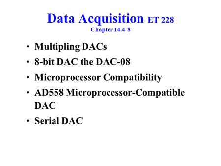 Data Acquisition ET 228 Chapter