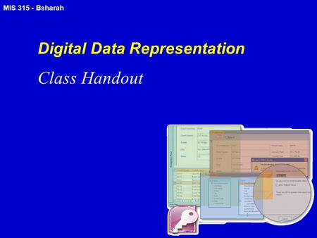 MIS 315 - Bsharah Digital Data Representation Class Handout.
