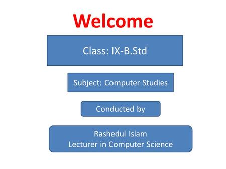 Welcome Class: IX-B.Std Subject: Computer Studies Conducted by Rashedul Islam Lecturer in Computer Science.