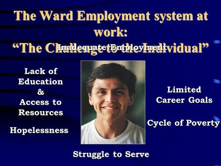 "The Ward Employment system at work: ""The Challenge to the Individual"" Inadequate Employment Struggle to Serve Hopelessness Lack of Education & Access."