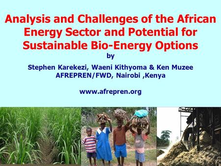 Analysis and Challenges of the African Energy Sector and Potential for Sustainable Bio-Energy Options by Stephen Karekezi, Waeni Kithyoma & Ken Muzee AFREPREN/FWD,