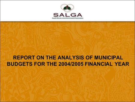 REPORT ON THE ANALYSIS OF MUNICIPAL BUDGETS FOR THE 2004/2005 FINANCIAL YEAR.