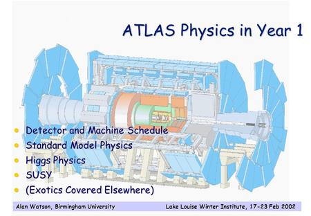 Alan Watson, Birmingham University Lake Louise Winter Institute, 17-23 Feb 2002 ATLAS Physics in Year 1  Detector and Machine Schedule  Standard Model.